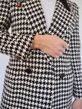 Houndstooth wool-blend tweed vintage blazer adorned by Jen Wonders