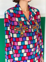 Vintage silk multi-color shirt adorned by Jen Wonders