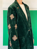 Vintage Green Velvet Blazer adorned by Jen Wonders
