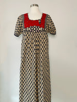 Vintage printed cotton Maxi dress adorned by Jen Wonders