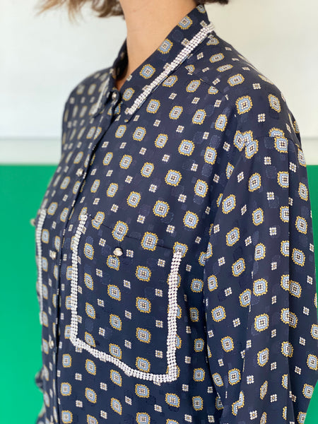 Vintage Silk printed  shirt adorned by Jen Wonders