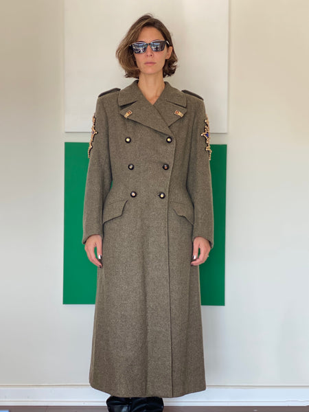 Long Vintage Coat adorned by Jen Wonders
