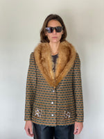 Vintage 1970s printed coat with fur collar adorned by Jen Wonders