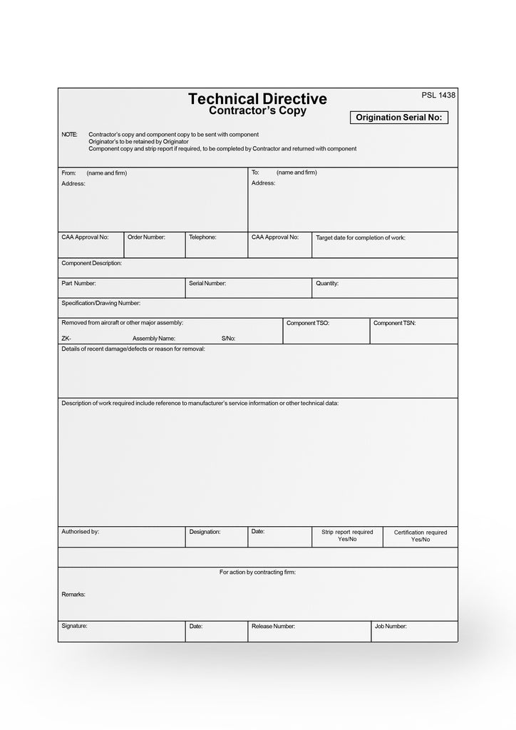 Technical Directive Form CAA 1438