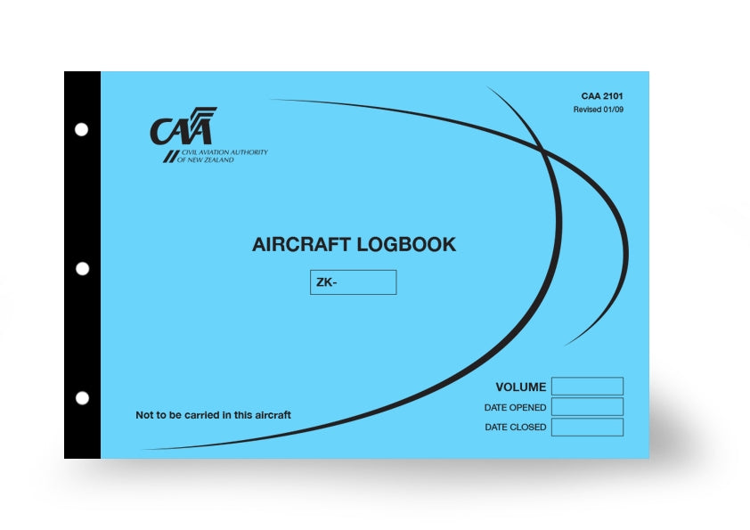 CAA 2101 aircraft logbook with blue cover