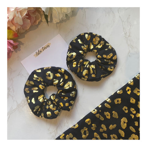 Navy and gold leopard scrunchies