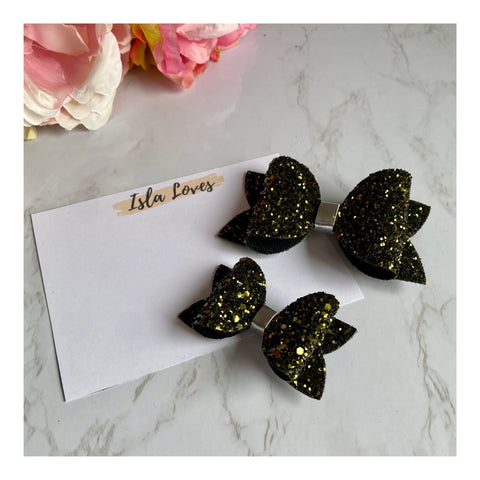 Khaki glitter beauty bow