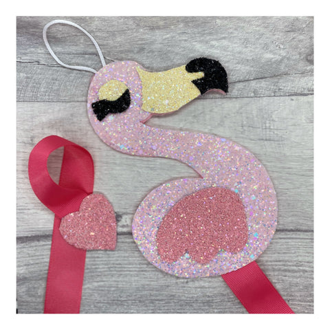 Flamingo glitter hairbow holder