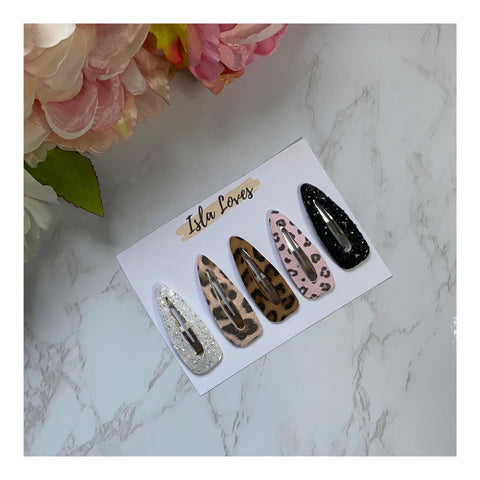 Leopard Snap Clips