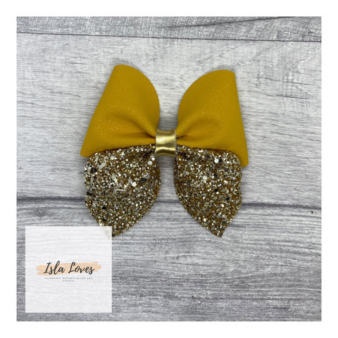 Mustard and gold Betsie bow