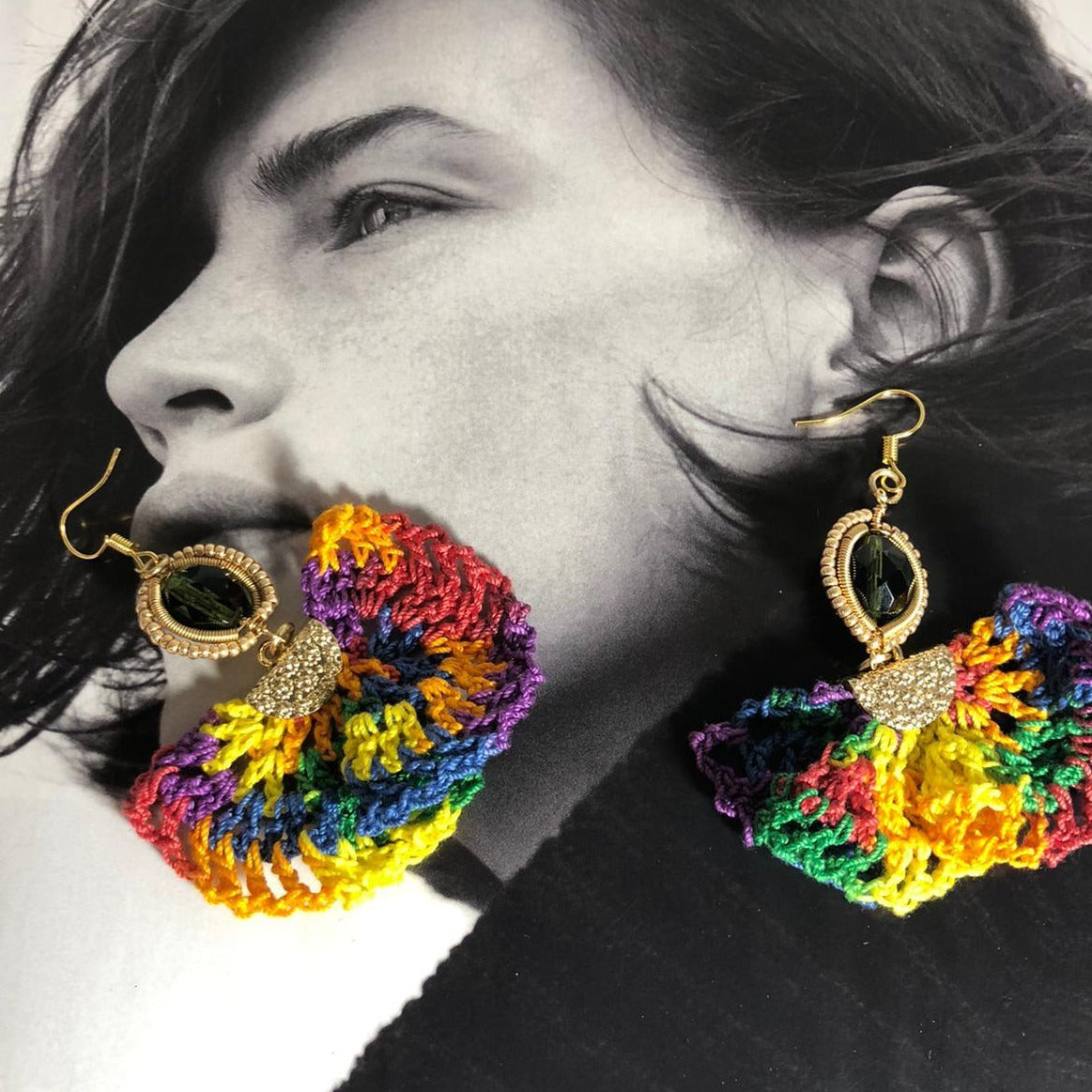 Rainbow Crochet Earrings - Andy & Rachel Studio