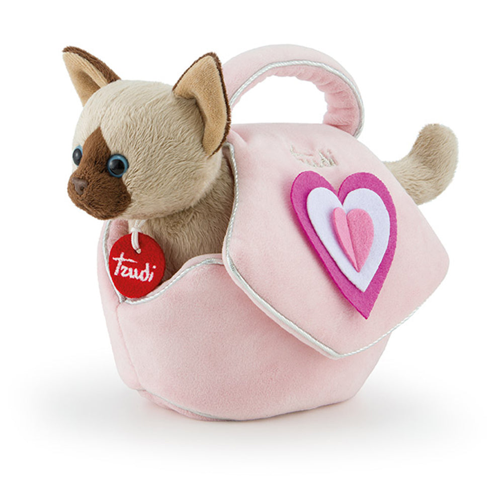 Pets Kitty Cat in a Pink Bag with Hearts - 26cm