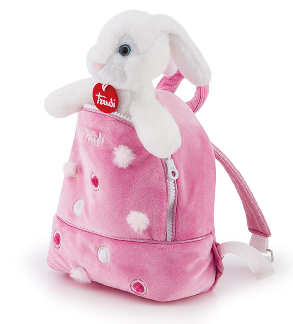 Pets Bunny Rabbit in a Pink Backpack - 20cm