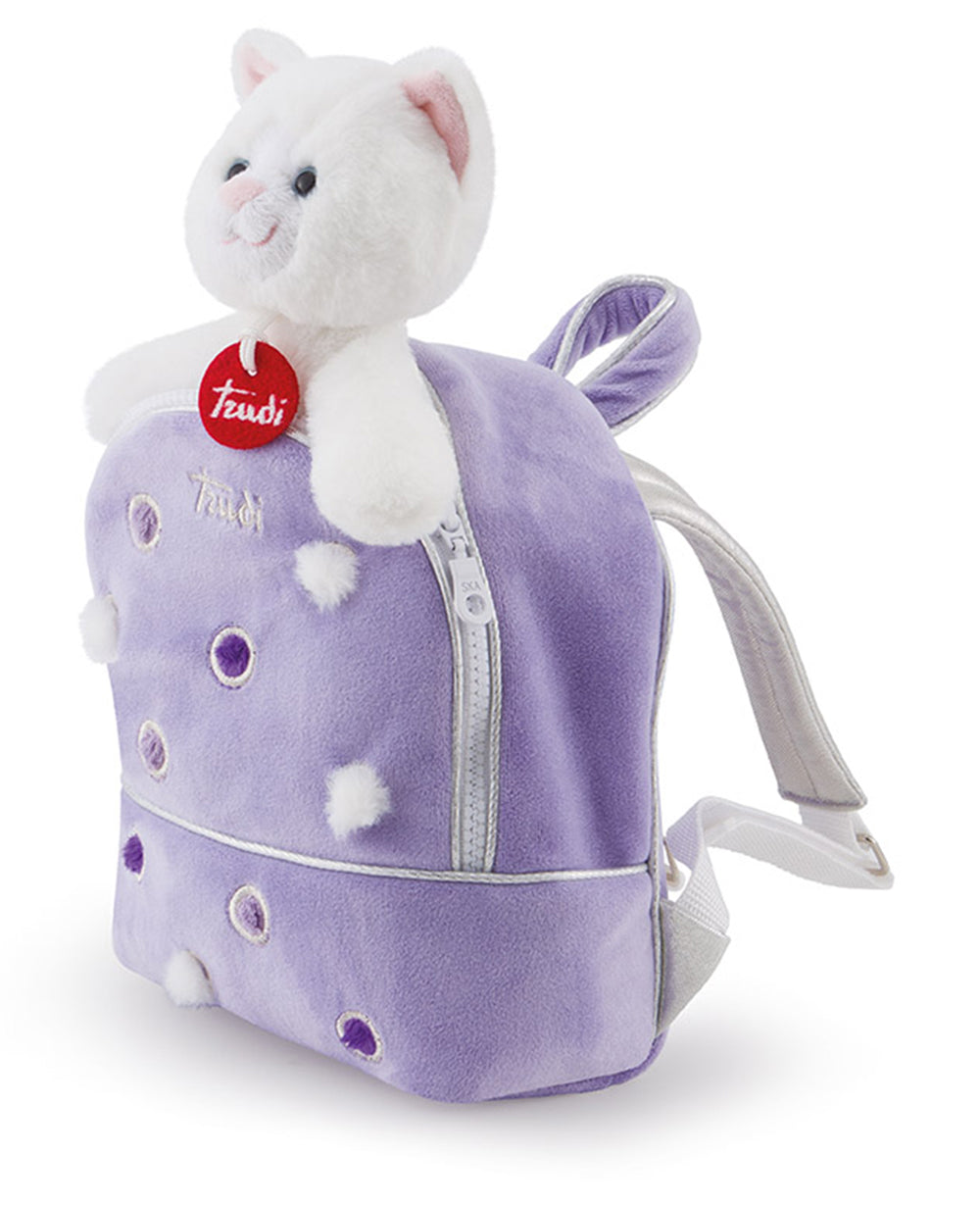 Pets Kitty Cat in a Lilac Backpack - 20cm