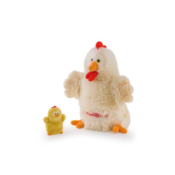 Puppet Hen with Chick - 28cm