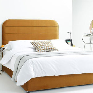 ochre fabric bed
