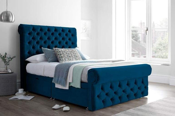 Navy Bed With Storage
