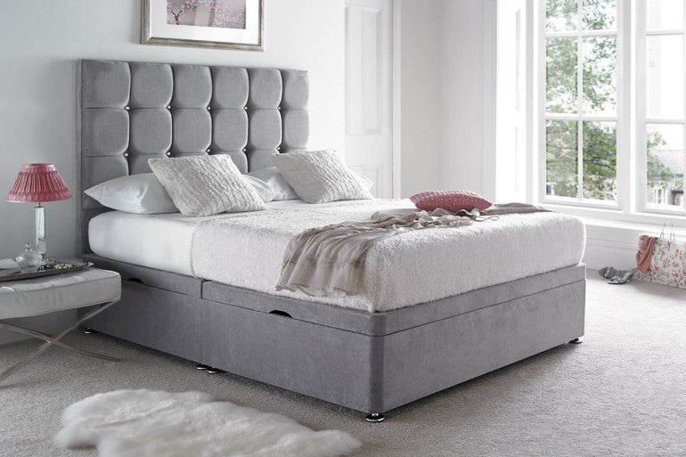 Diamond Cube Fabric Upholstered Bed