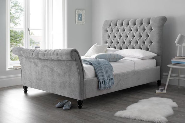 Grey Sleigh Bed