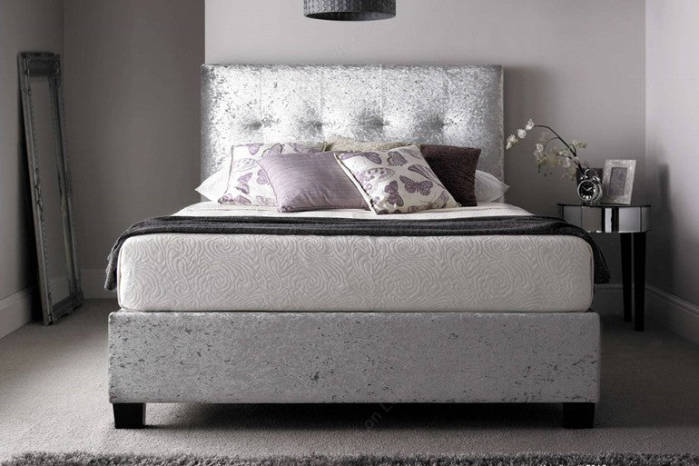 Kaydian Ottoman Beds - Walkworth Ottoman in Silver Crushed Velvet