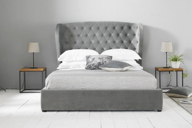 Amalfi Winged Bed in Grey Plush - Beds on Legs Ltd