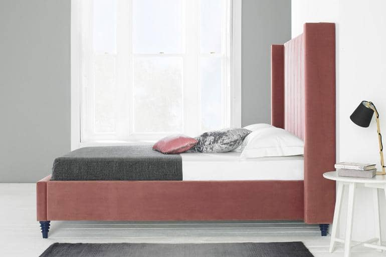 Turin Winged Bed in Pink Plush Velvet