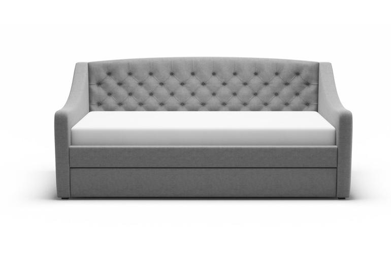 Chesterfield Fabric Day Bed with Trundle Guest Bed in Grey
