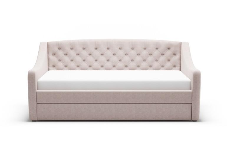 Chesterfield Fabric Day Bed with Trundle Guest Bed in Mink