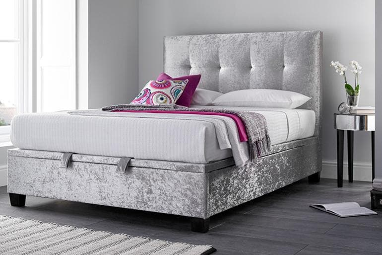 Kaydian Walkworth Ottoman Bed in Velvet - Beds on Legs Ltd