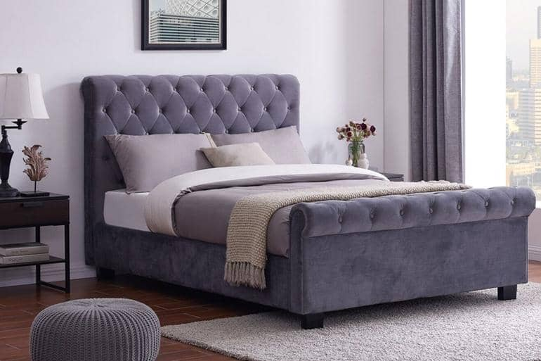 Whitford Ottoman Sleigh Bed - Beds on Legs Ltd