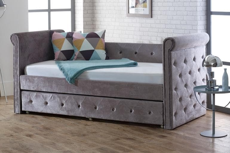 Limelight Zodiac Day Bed with Trundle Guest Bed in Silver