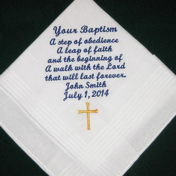 Baptism handkerchief, hanky, hankie 168S (with free gift box and free shipping in the US)