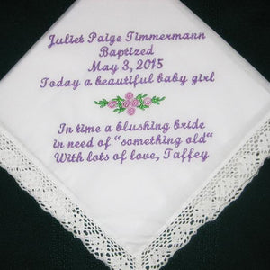 Baptismal hanky for a special baby girl.  baby naming hankie, something old for wedding day,160S