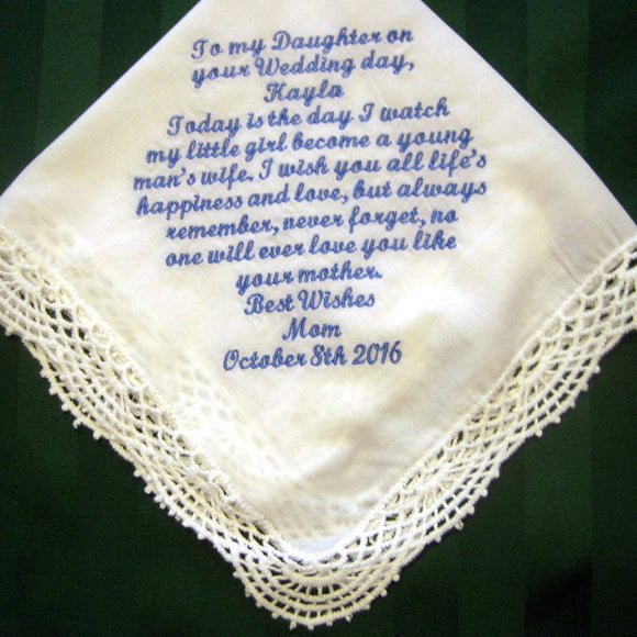 Bridal Handkerchief from Mother to Daughter, Something blue wedding hankie 207S