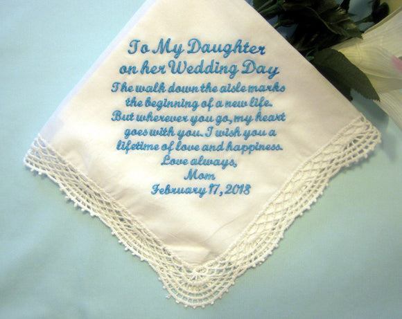 The special handkerchief embroidered for the bride