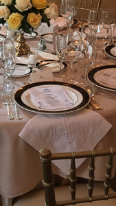 6 white linen hemstitched napkins 22in.