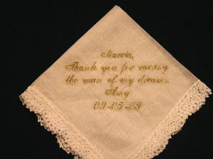 Wedding Hanky with Gold Metalic Thread # 2 Mother of the bride