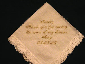 Personalized Wedding Gift- Wedding Handkerchief with Gold Metallic Thread with Gift Box 44S