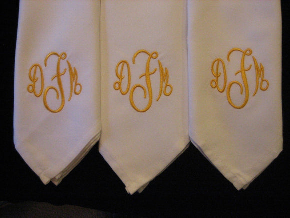 12 Monogrammed dinner napkins includes shipping in the US Perfect wedding gift