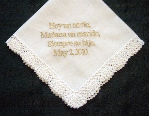 Spanish Wedding Hanky for Mother of the Groom with gold metallic thread with Gift Box 64B