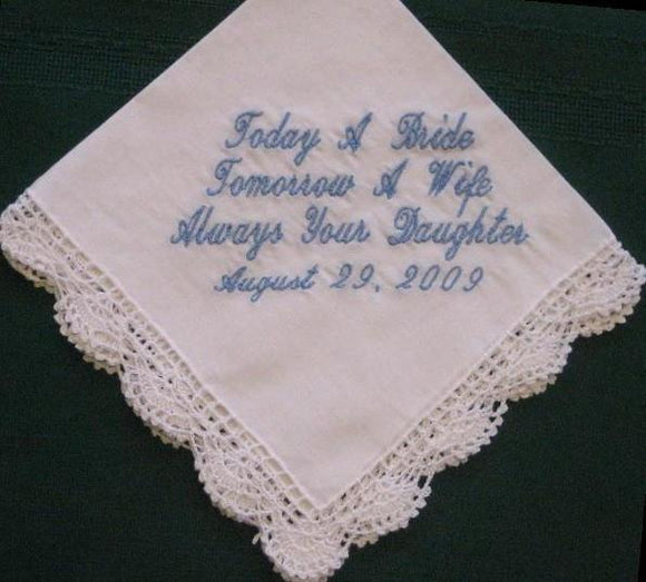 Mother of the Bride Gift, Personalized Wedding Handkerchief, Wedding Hanky Hankie with Gift Box 6S