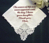 30 words of your choice From the Groom to Mother of the Bride Hankie 1SL