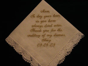 Wedding Handkerchief with Gold Metallic Thread with Gift Box 76S Personalized Wedding Handkerchief
