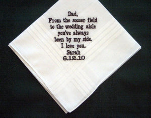 Embroidered Father of the Bride Handkerchief Gift, Groomsmen  Personalized Hankie 144B