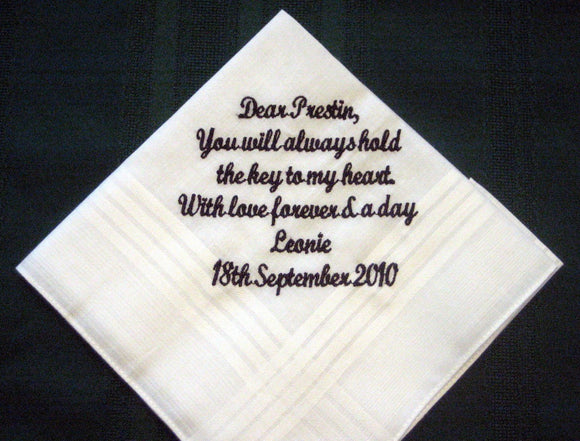 Wedding Handkerchief From Bride to Groom with Gift Box 52S includes shipping in the US
