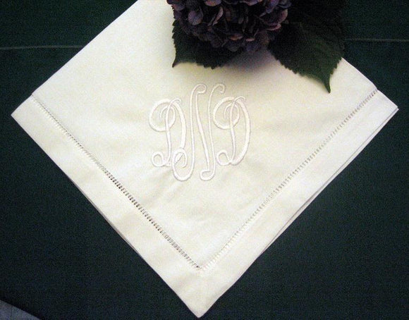 Hemstitched Linen Dinner Napkin Set of 12 with FREE shipping in US