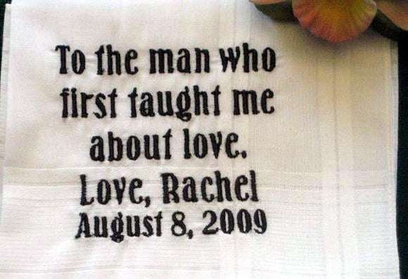 Father of the Bride Gift, wedding hanky 4B Personalized Wedding Handkerchief