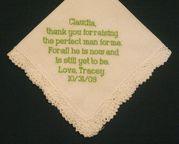 Mother of the Groom Hanky style number 46B with FREE Gift Box and Free shipping in US