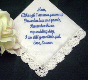 Mother of the Bride Hankie 25S  Personalized Wedding Handkerchief Embroidered ladies hankie