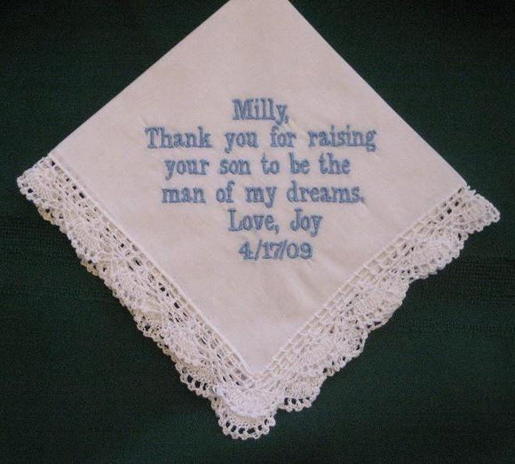 Mother of the Groom with Gift Box 87B with shipping in the US Personalized Wedding Handkerchief